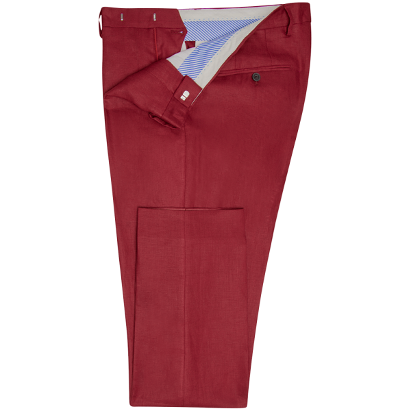 Raspberry Plain Linen Trousers