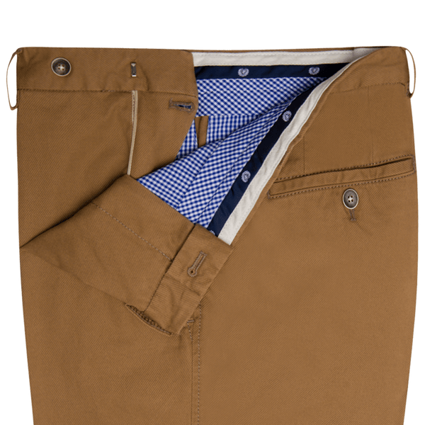 Dark Stone Cavalry Twill Cotton Trousers - Gagliardi