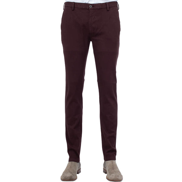 Burgundy Twill Five Pocket Trousers - Gagliardi