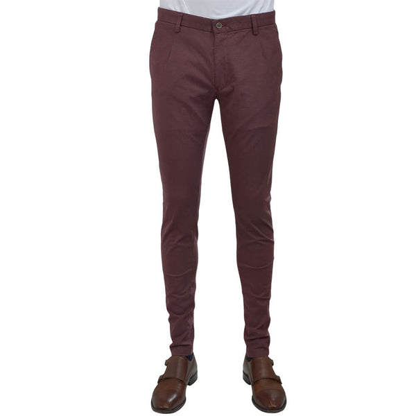Raspberry Birdseye Chino Trousers - Gagliardi