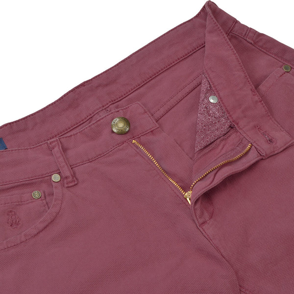 Raspberry Nailhead Five Pocket Trousers - Gagliardi