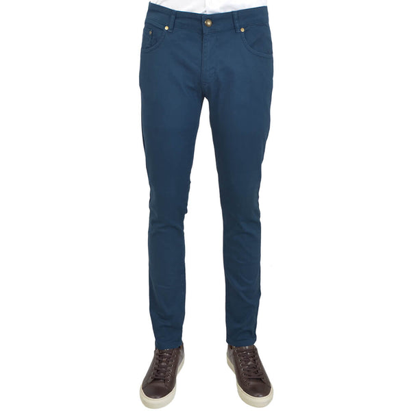 Navy Stretch Cotton Five Pocket Trousers - Gagliardi