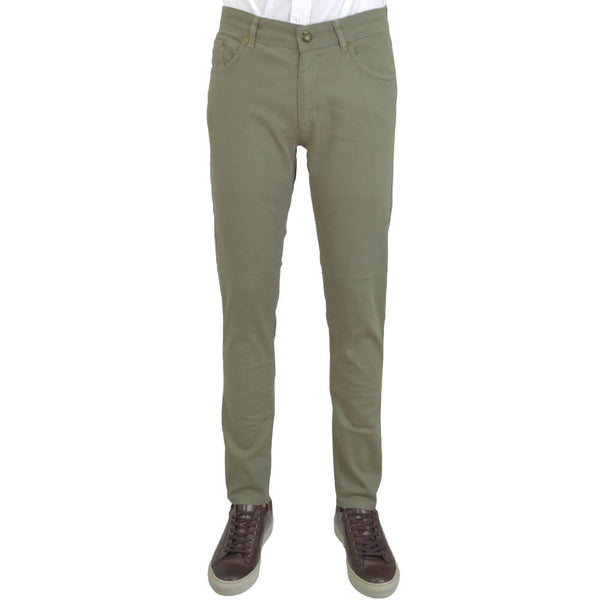 Olive Stretch Cotton Five Pocket Trousers - Gagliardi