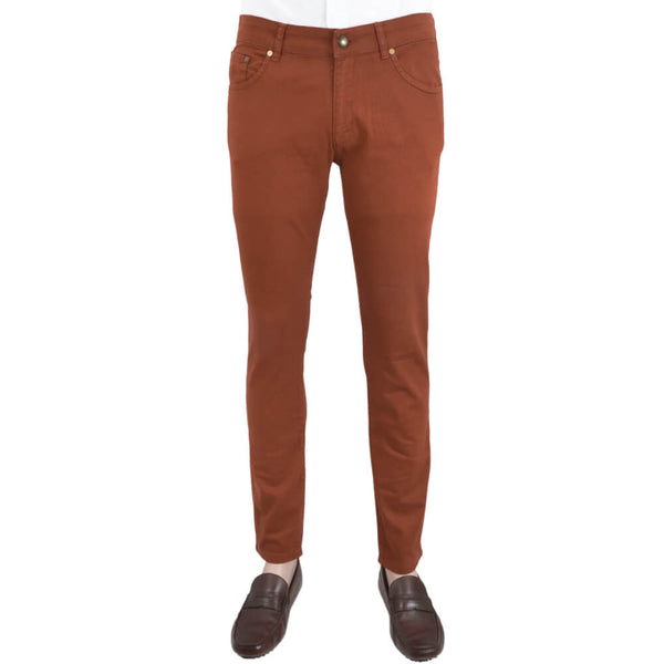 Rust Stretch Cotton Five Pocket Trousers