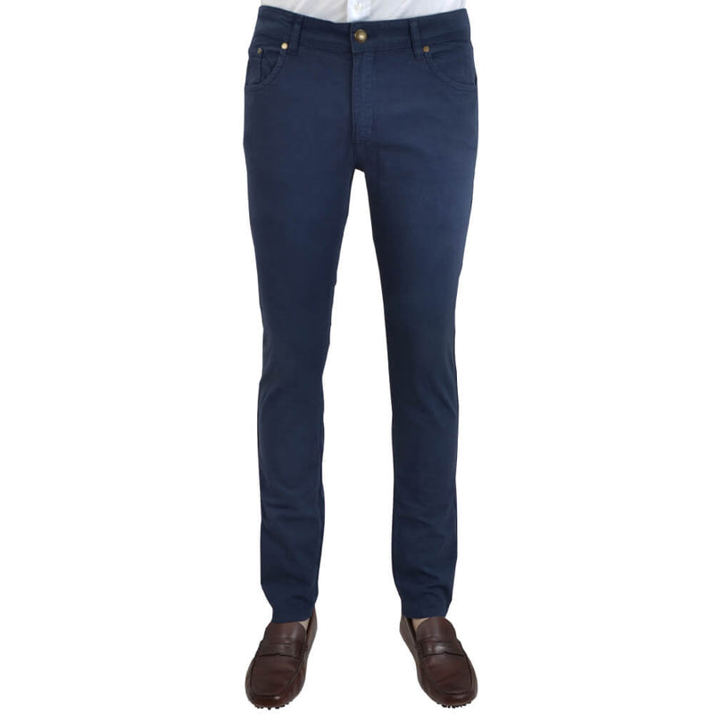 Navy Stretch Cotton Textured Five Pocket Trousers - Gagliardi