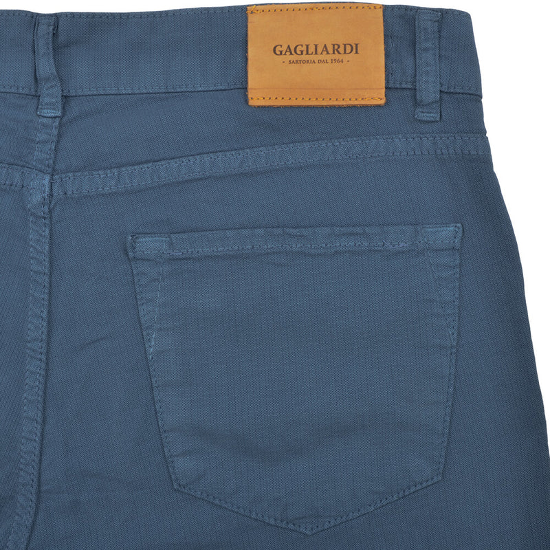 Blue Stretch Cotton Textured Five Pocket Trousers - Gagliardi