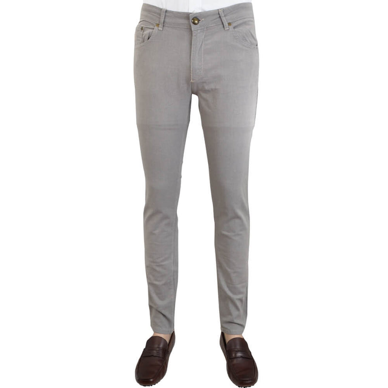 Winter White Stretch Cotton Textured Five Pocket Trousers - Gagliardi