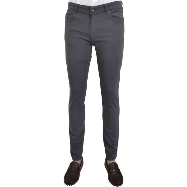 Charcoal Stretch Cotton Textured Five Pocket Trousers - Gagliardi