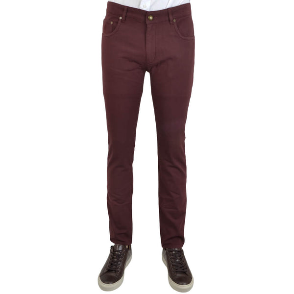 Bordeaux Stretch Cotton Textured Five Pocket Trousers - Gagliardi