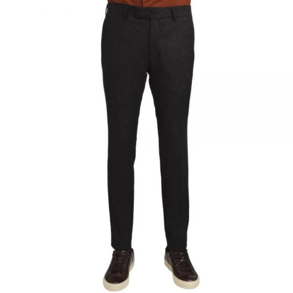 Brown Wool Blend Stretch Trousers