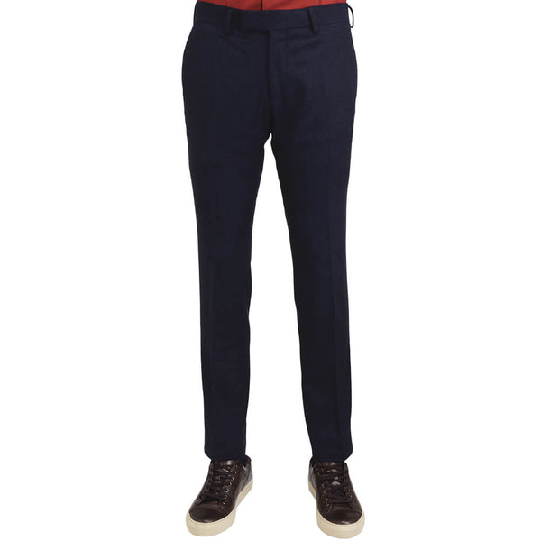 Navy Wool Blend Stretch Trousers