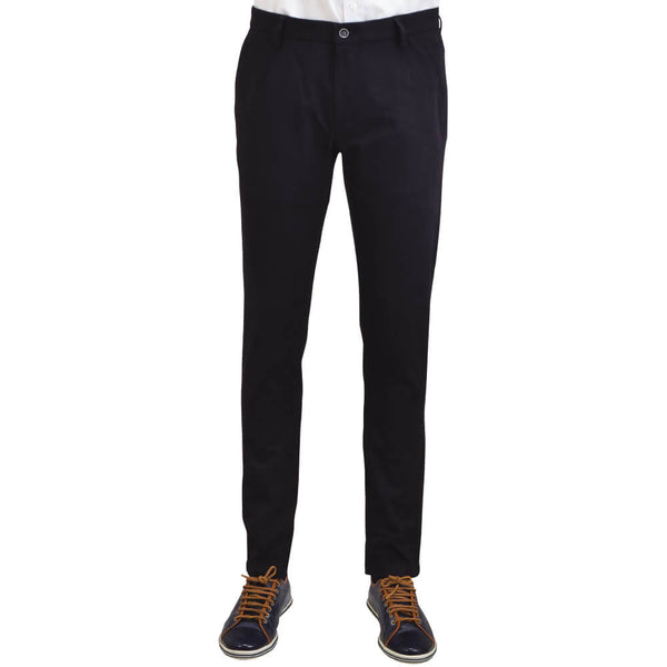 Navy Stretch Cotton Textured Chino
