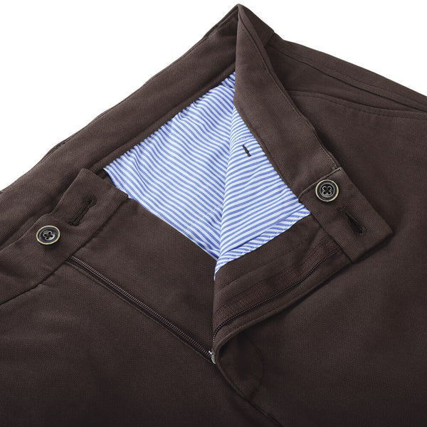 Brown Stretch Cotton Textured Chino - Gagliardi