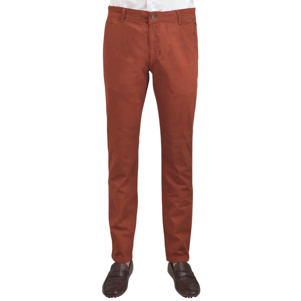 Rust Stretch Cotton Textured Slim Fit Chinos - Gagliardi