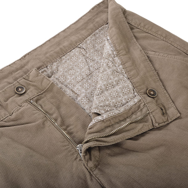 Beige Stretch Cotton Textured Slim Fit Chinos - Gagliardi
