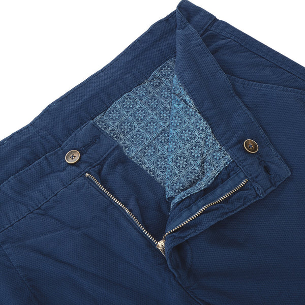 Blue Stretch Cotton Textured Slim Fit Chinos