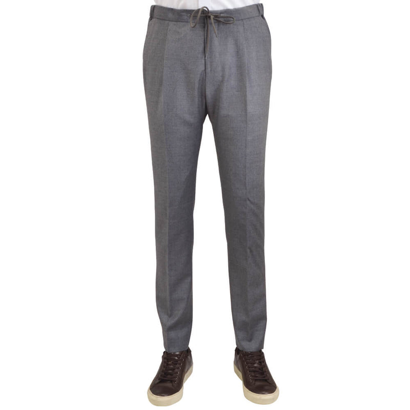 Grey Flannel Drawstring Slim Fit Trousers - Gagliardi