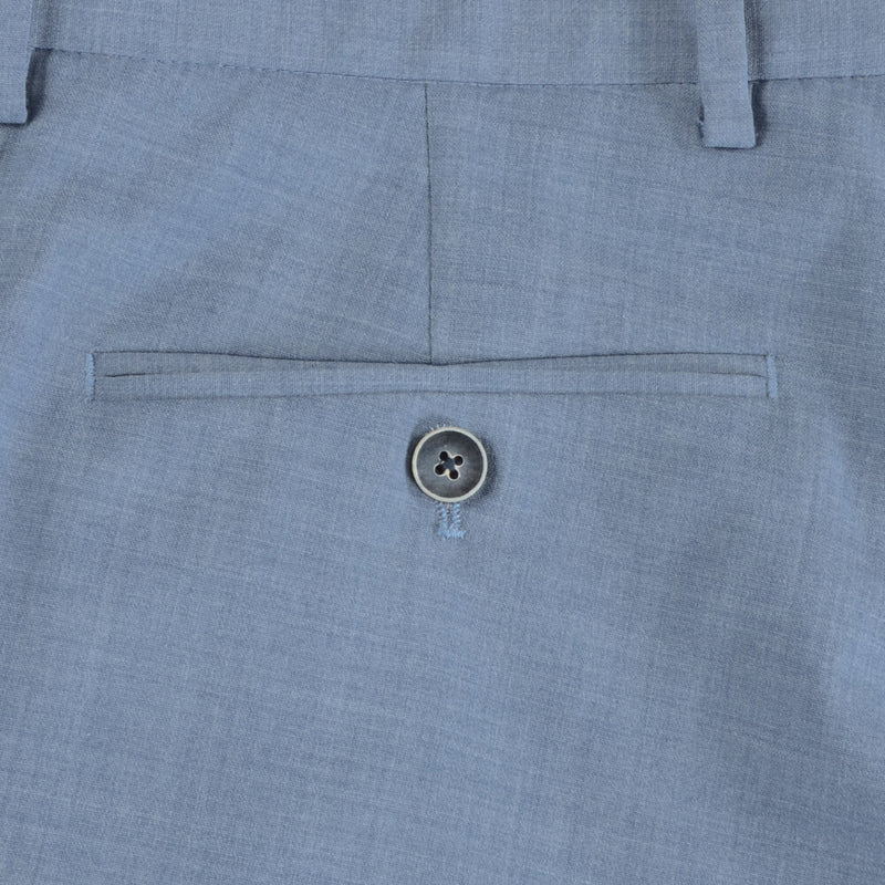 Light Blue Wool Blend Tropical Trousers - Gagliardi