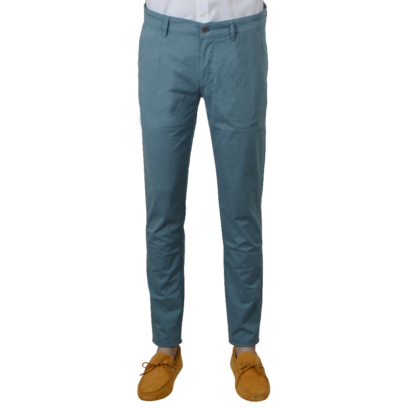 Blue Stretch Cotton Herringbone Chino - Gagliardi