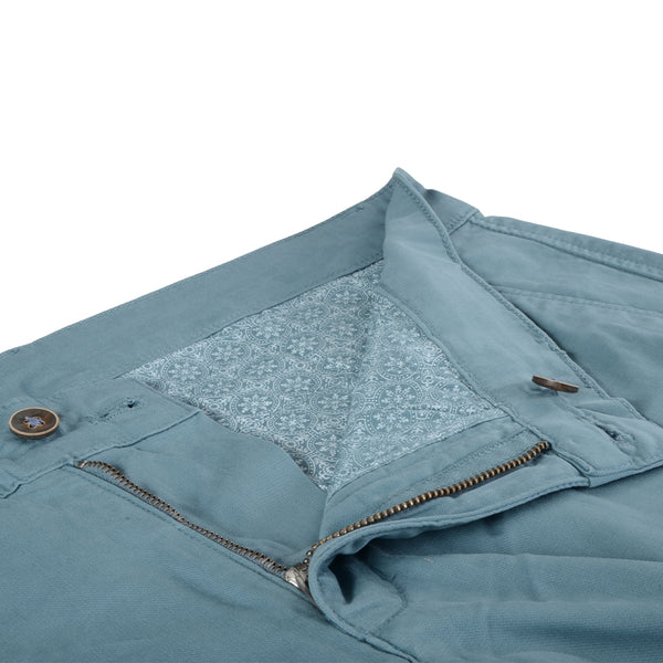 Blue Stretch Cotton Herringbone Chino