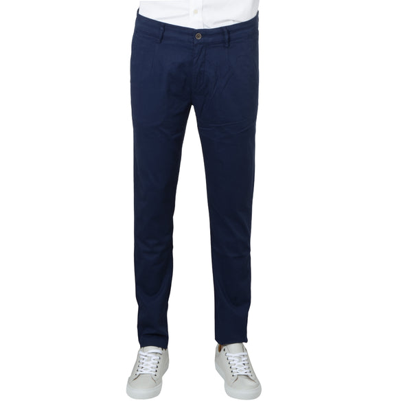 Navy Stretch Cotton Herringbone Chino