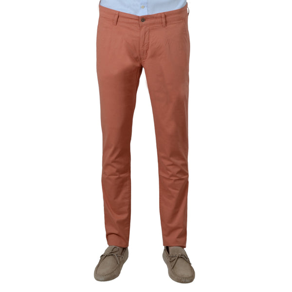 Orange Stretch Cotton Herringbone Chino