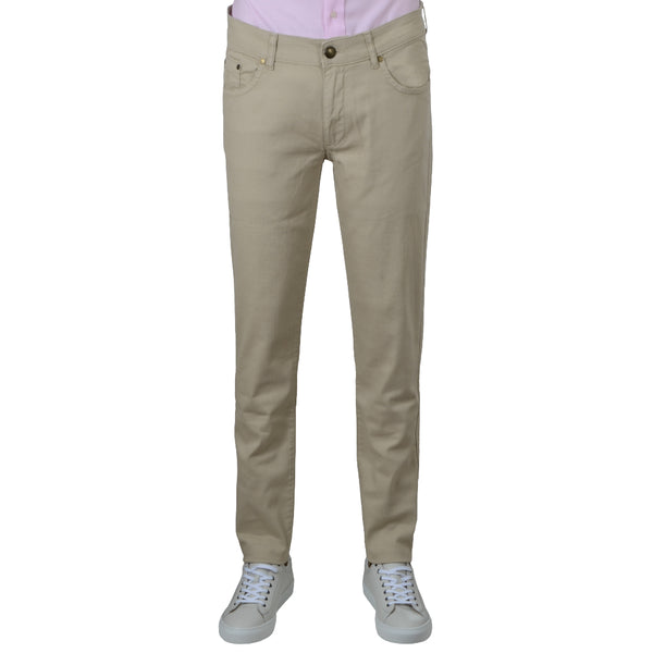 Taupe Stretch Cotton Twill Five Pocket Trousers