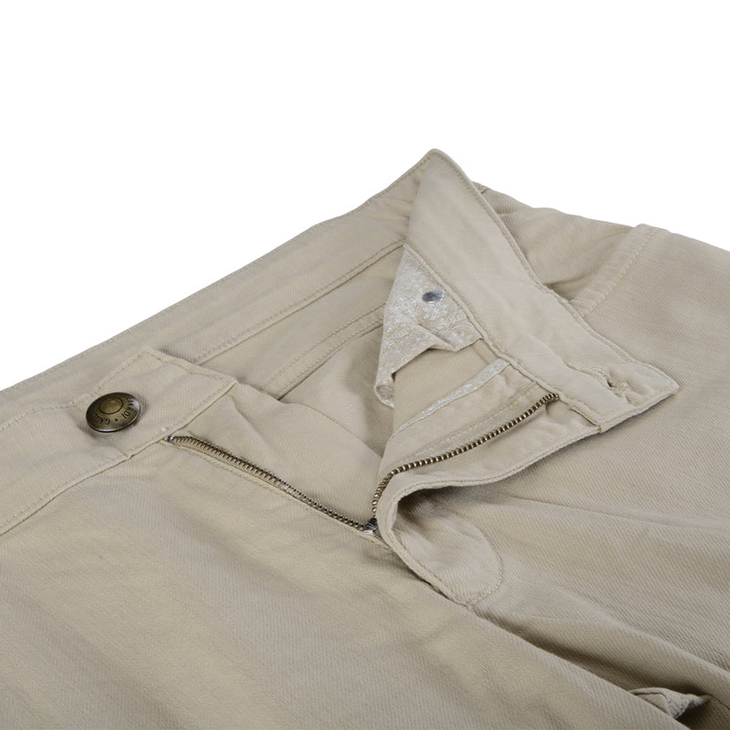 Taupe Stretch Cotton Twill Five Pocket Trousers - Gagliardi
