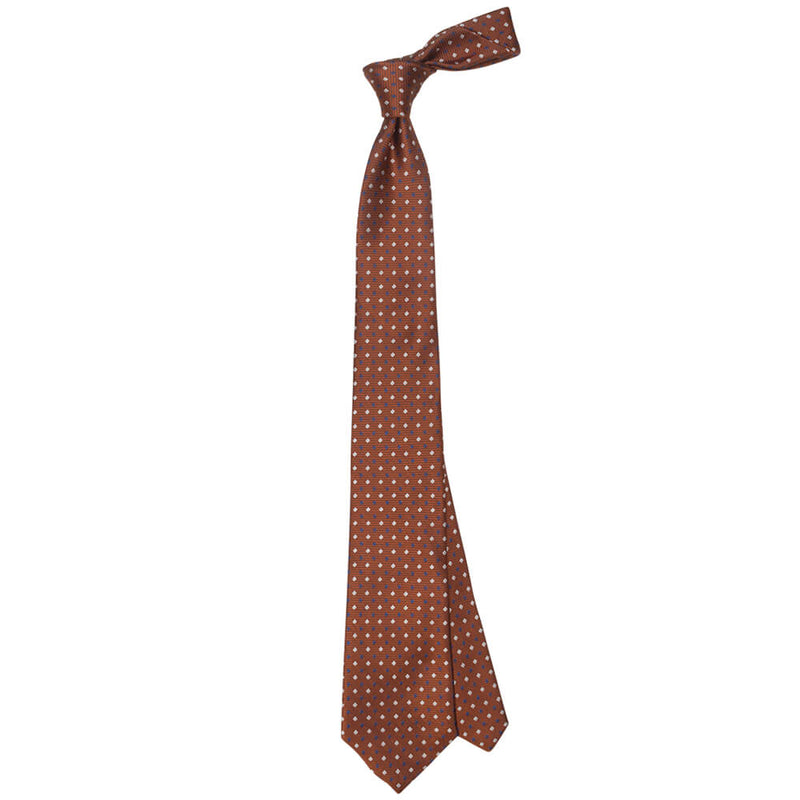 Orange With Blue And White Squares Tie - Gagliardi