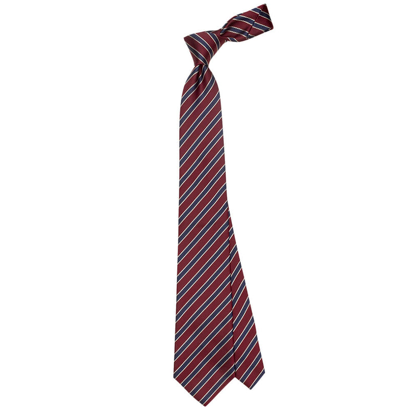 Raspberry With Navy And White Striped Tie - Gagliardi