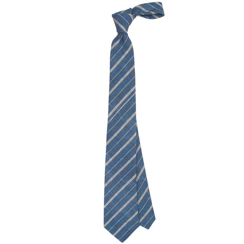 Navy With Grey Stripes Tie - Gagliardi