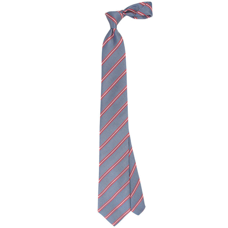 Blue With Red And White Stripes Tie - Gagliardi