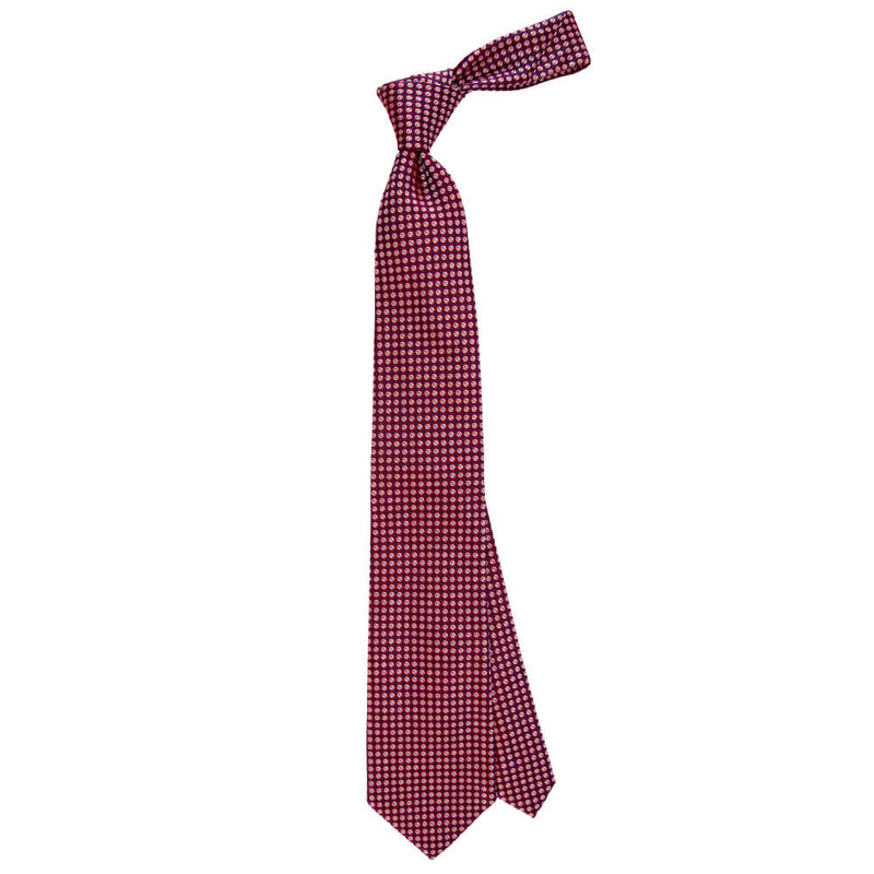Red With Blue And White Geometric Circles Tie - Gagliardi