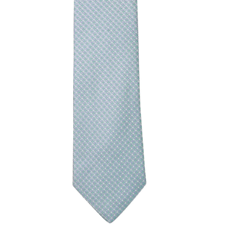 Silver Grey With Navy And Green Squares Tie - Gagliardi