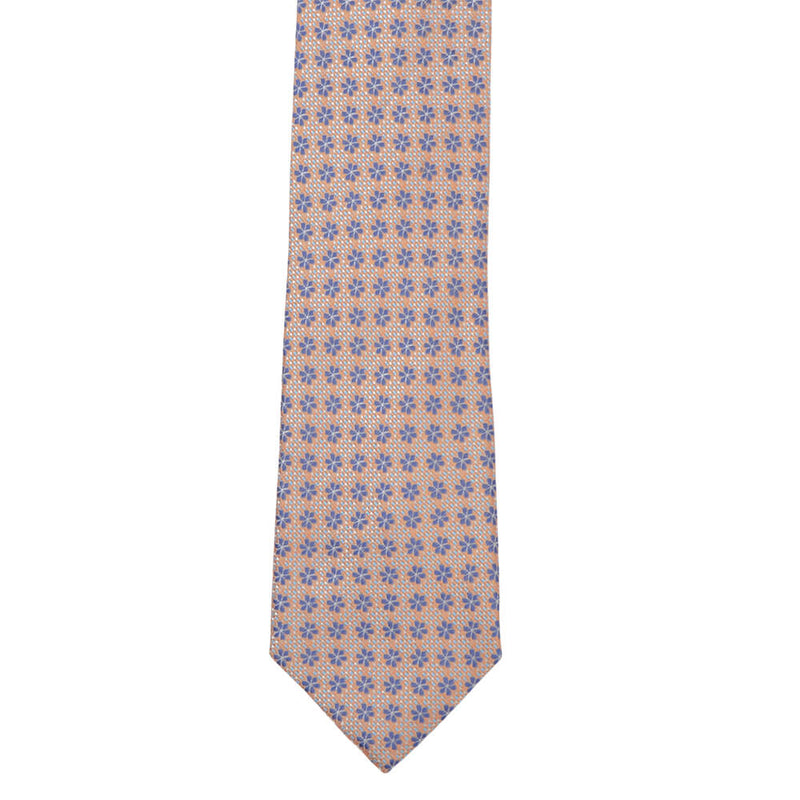 Orange With Navy Flowers And Sky Micro Squares Tie - Gagliardi