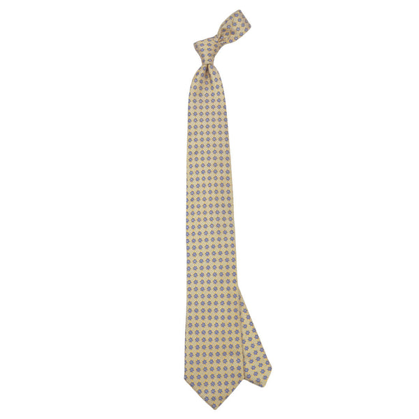 Yellow With Navy Flowers And Sky Micro Squares Tie - Gagliardi