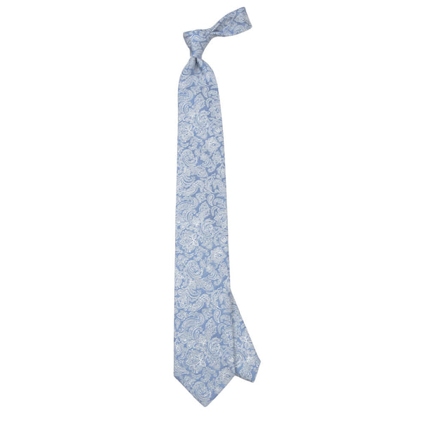 Light Blue With White Flower Pattern Tie