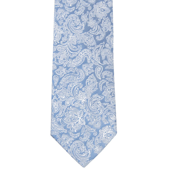 Light Blue With White Flower Pattern Tie - Gagliardi