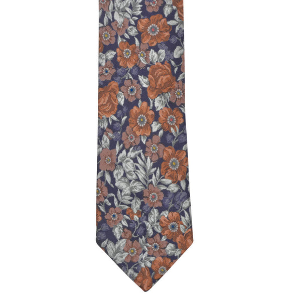 Navy With Large Floral Design Tie - Gagliardi