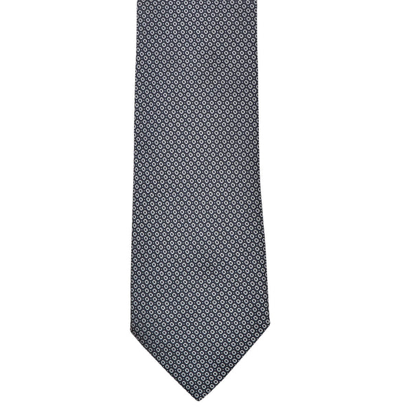 Navy With White Geometric Circles Tie