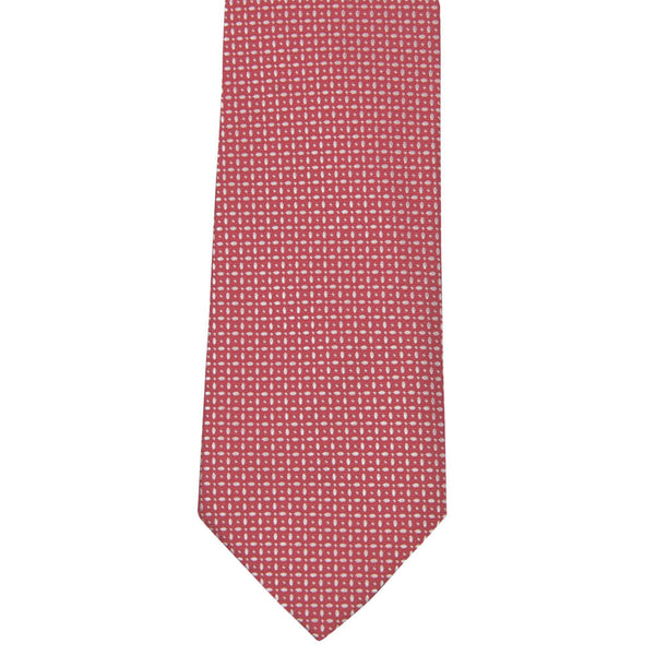 Red With White Geometric Pattern Tie - Gagliardi