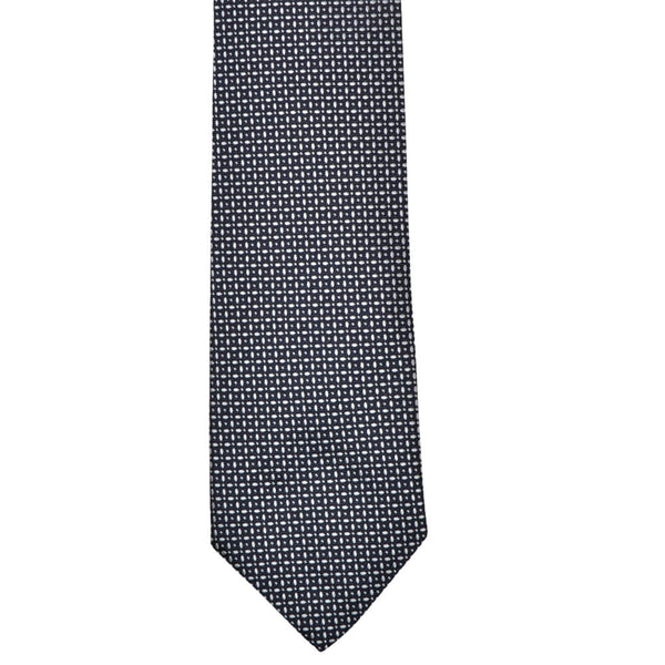 Navy With White Geometric Pattern Tie - Gagliardi