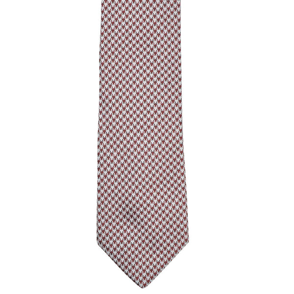 Red With White Dogstooth Tie - Gagliardi