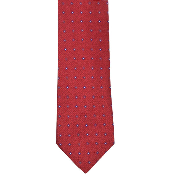 Red Textured With Blue Geometric Flower Tie