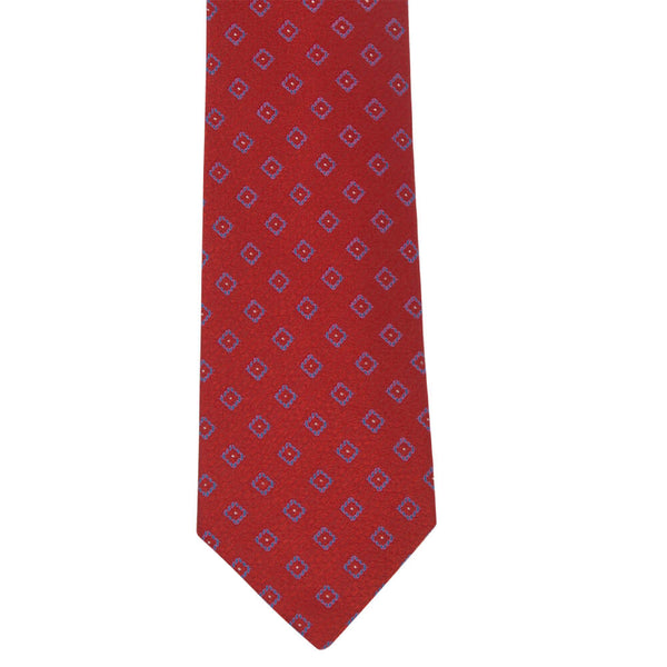 Red Textured With Blue Geometric Squares Tie - Gagliardi
