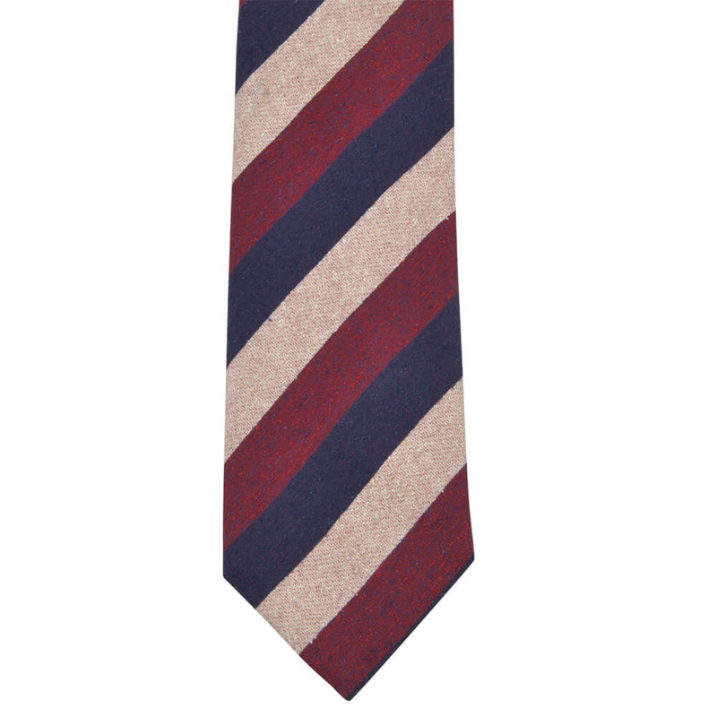 Red Beige And Navy Bold Stripes Tie