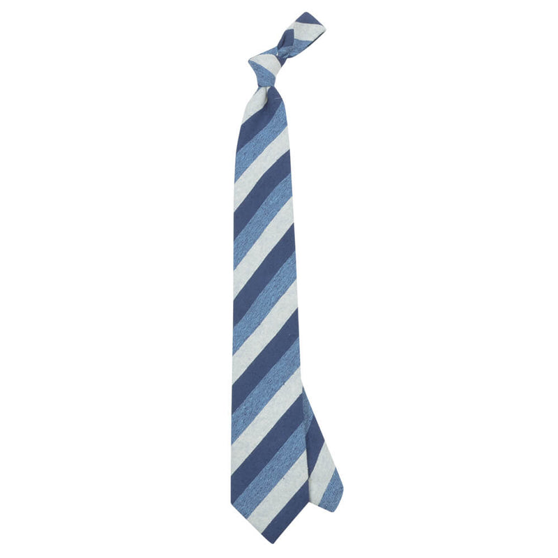 Navy Blue And Beige Bold Stripes Tie