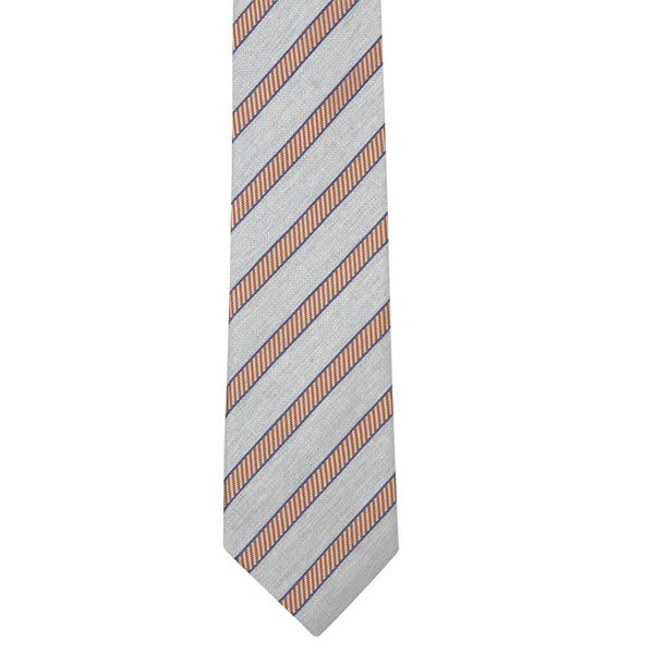 Silver Grey With Orange And Navy Stripe Tie