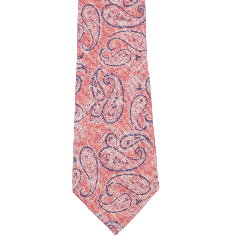 Red With Large Blue Paisley Tie