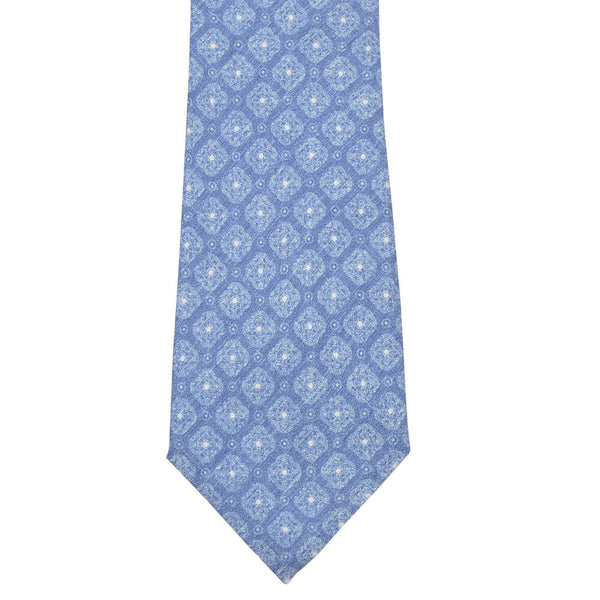 Blue With White Geometric Flowers Tie